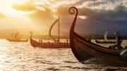 Vikings invading in Longships