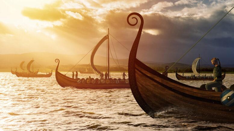 Vikings invading in Longships