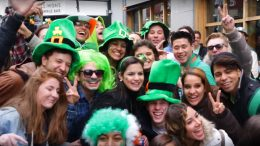 People celebrating St Patrick's Day in Dublin