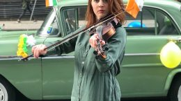 Girl playing the Irish fiddle